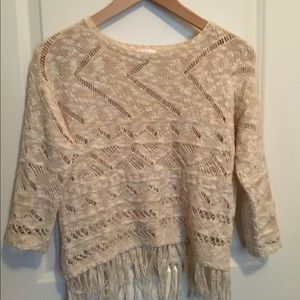 Sweaters - Cream White Crop Top Sweater with Fringe